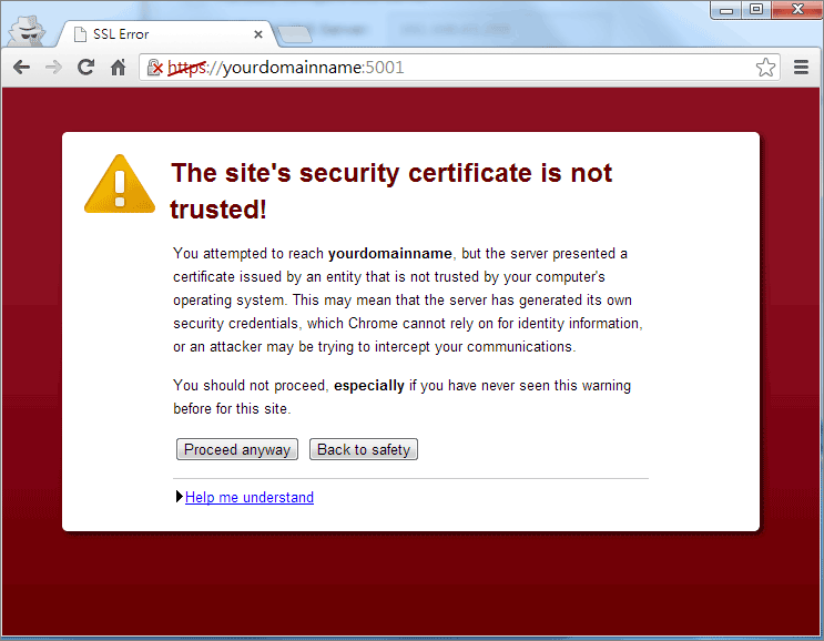 Self-signed SSL certificate error
