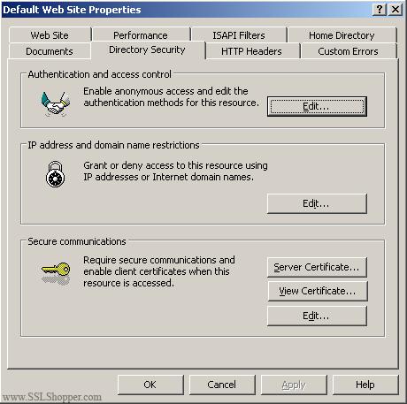 Install SSL in IIS 5