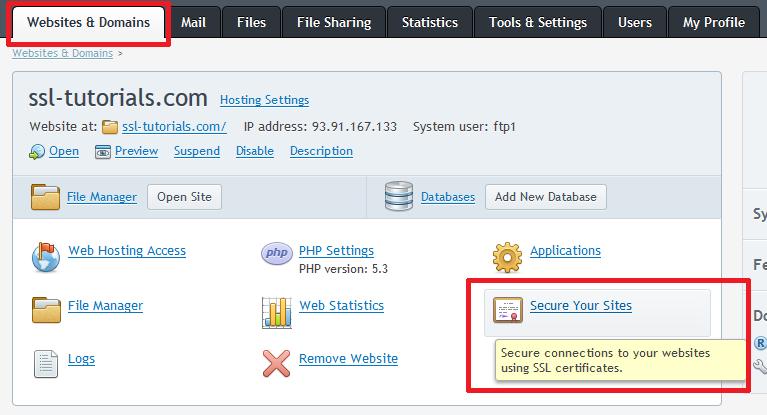 SSL/TLS in Plesk
